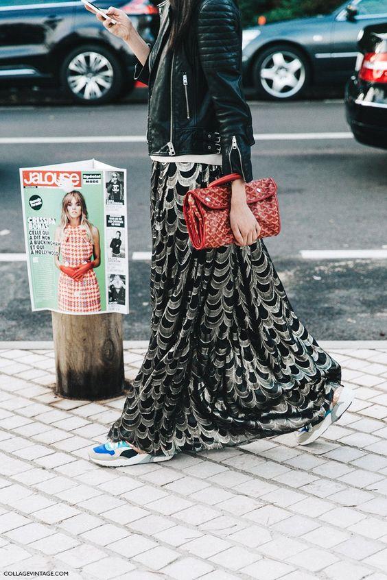 Falda vaporosa con deportivas